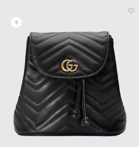 1c5bd5e20 Image is loading Authentic-Gucci-GG-Marmont-Black-Matelasse-Backpack