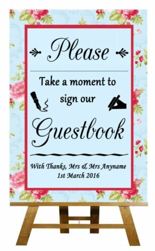Poster Shabby Chic Vintage Floral Guest Book Personalised Wedding Sign