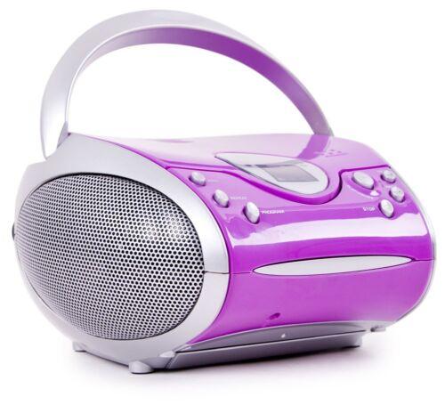 Kinder Mädchen tragbare Stereo Musik Anlage CD Radio Boombox Lenco SCD 24 Lila