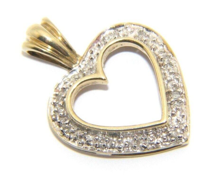 Ladies women's 9ct 9carat Yellow gold Open Heart Diamond Pendant