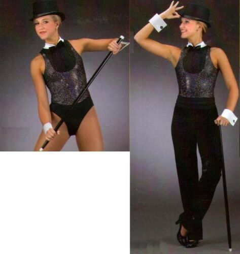 After Eight Dance Costume Tuxedo Tap Child X-Small Leotard with Small Pants