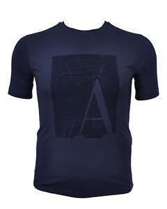 7168632471a2 Das Bild wird geladen Armani-Collezioni-T-Shirt-Shirt-Aplikation-Aufdruck- Print-