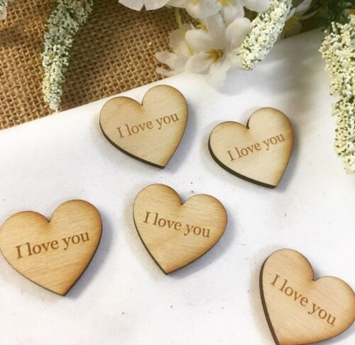 'I love you' Rustic Wood Engraved WeddingParty Table Decorations Bag of 50