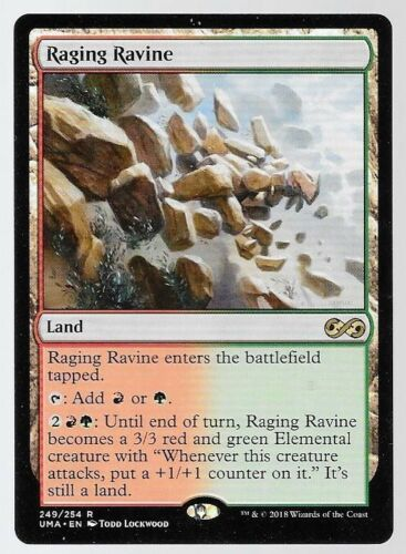 Magic the Gathering Ultimate Masters Raging Ravine Red//Green Land