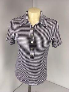3d899363ab44 TORY BURCH POLO shirt-Sz Medium M-Blue striped-silver logo buttons ...