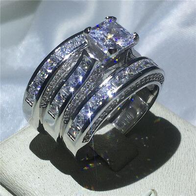 Handmade Flower Jewelry 3ct AAAAA Cz White Gold Filled Women Wedding Band Ring