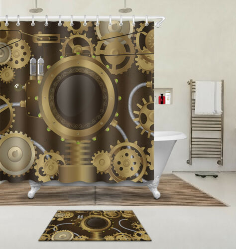 Steam Punk culture Bathroom Waterproof Fabric Shower Curtain /& Bath Mat 3902