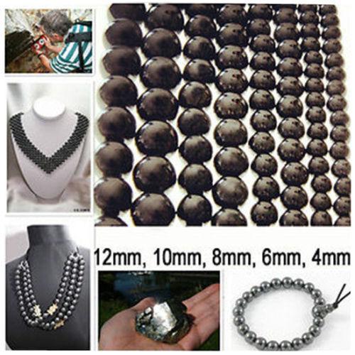 Lot de Perles Hématite 12/10/8/6/4 mm Rondes Création Shamballa Bracelet Collier
