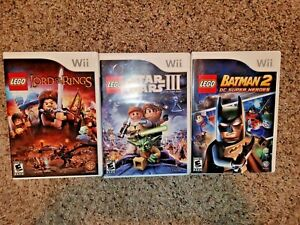 Lot 3 Nintendo Wii Lego Games Batman 2 Star Wars III Lord of the Rings Complete