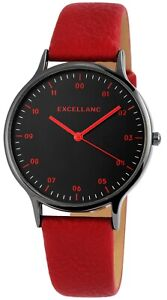 Excellanc-Damenuhr-Schwarz-Rot-Analog-Kunst-Leder-Quarz-Armbanduhr-X-1900212-003