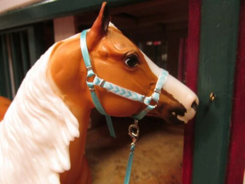 Jaapi Aqua on Aqua Chevron halter w//lead fit Breyer traditional model horses
