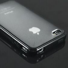 TPU Rubber Soft Bumper Frame + Hard Matte Clear Back Case Cover For iPhone 4 4S