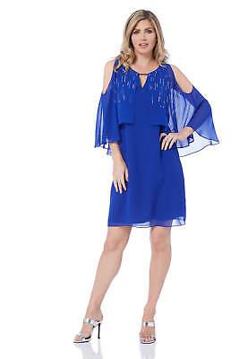 Roman Originals Womens V Neck Chiffon Overlay Dress