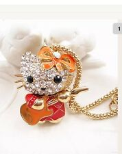 Betsey Johnson Necklace Hello  Kitty �� Crystals Orange Guitar �� Adorable