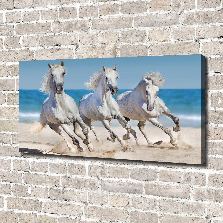 Leinwandbild Kunst-Druck 140x70 Bilder Tiere Weiße Pferde Strand
