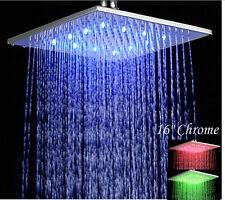 Big 400mm Chrome Brass LED Square Rain Shower Head Top Over-head Sprayer