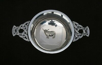 Highland Cow Quaich Drinking Bowl Pewter Stainless Steel Christening Gift 179