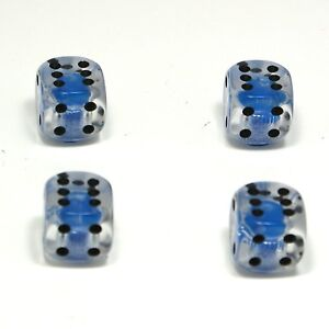 Set-of-Four-Clear-with-Blue-Inserts-Dice-Dust-Caps-X4-80-039-s-Retro-Valve-Caps