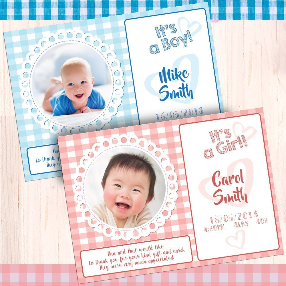 Personalised Baby Shower Birthday Christening Baby Feet Thank You Cards Xmas