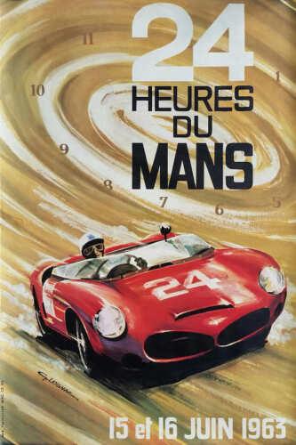 VINTAGE 1963 LE MANS 24 HRS AUTO RACING POSTER PRINT 36x24 9MIL PAPER