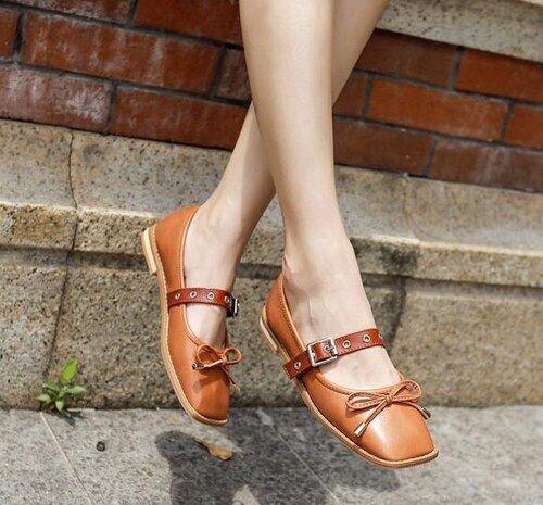 Ballerines mocassins chaussures basses brun Élégant comme cuir confortable CW987