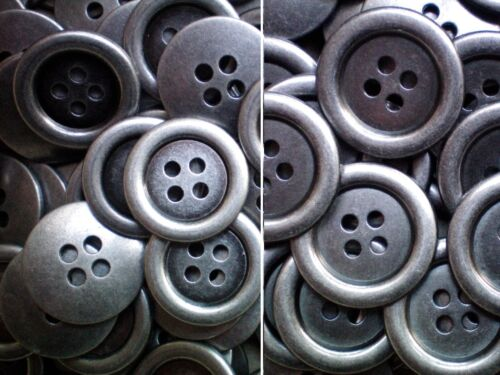 MB32-MB33 20mm 25mm Aged Silver Effect Metal 4 Hole Industrial Jacket Buttons
