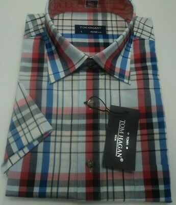 Mens Yarn Dyed Short Sleeve Summer PolyCotton Check Shirt M-2XL By Tom Hagan