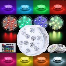 IP68 Battery Powered 10 LEDs RGB Light For Aquarium Fish Tank Garden Pool Lamp