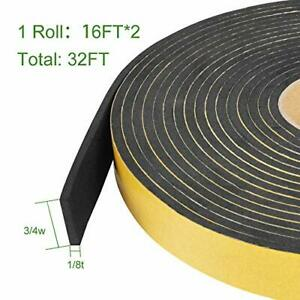 Seal Foam Tape,1//2 Inch W x 1//8 Inch T High Density Weather Stripping for Door and Window Seal Insulation Single Sided Closed Cell Foam Seal Strip,2 Pack 16FT Long Each