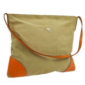 b7a222d7b1b2 Image is loading Auth-PRADA-Shoulder-Tote-Bag-Beige-Orange-Canvas-