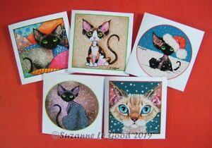 Devon-Rex-Cat-5-art-Christmas-cards-glittery-original-painting-Suzanne-Le-Good