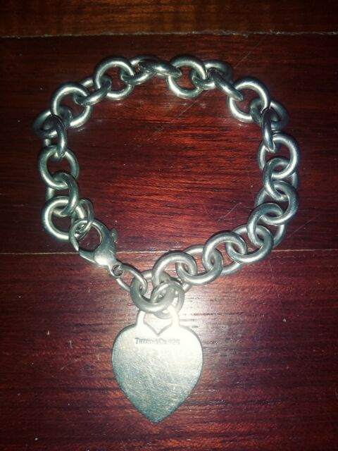 f58793ff7 Authentic TIFFANY & Co Sterling Silver 925 HEART Tag Charm Chain Link  Bracelet