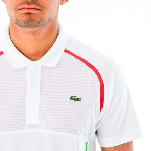 NWT Lacoste Sports Men/'s  Ultra Dry Fit Tennis Polo size 8//3XL White//green//red