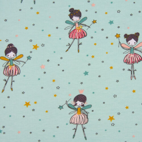 Baumwolljersey Jersey Dancing Ballerine Fée Comme neuf multicolores largeur 1,5 m