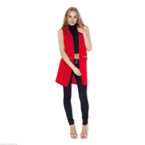 New Ladies Women Sleeveless Zip Pocket Long Waistcoat Blazer Jacket Coat