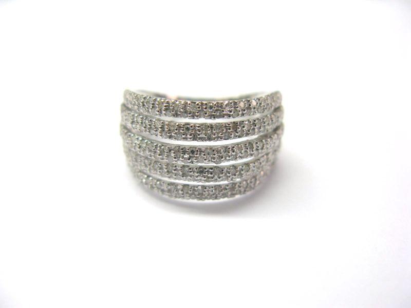 Fine Stunning 5-Row Diamond Ring WG 14KT