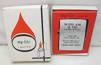 Vintage NOS Unfired My Lite Lighter WJPD Michigan Upper Peninsula Radio Station