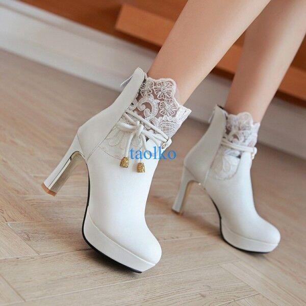 Women's Block High Heel Lace Platform Ankle Boots Wedding Party shoes Plus Size