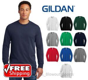 3b1fd708d5b9bc Gildan Heavy Cotton Long Sleeve T Shirt Mens Blank Casual Plain Tee ...