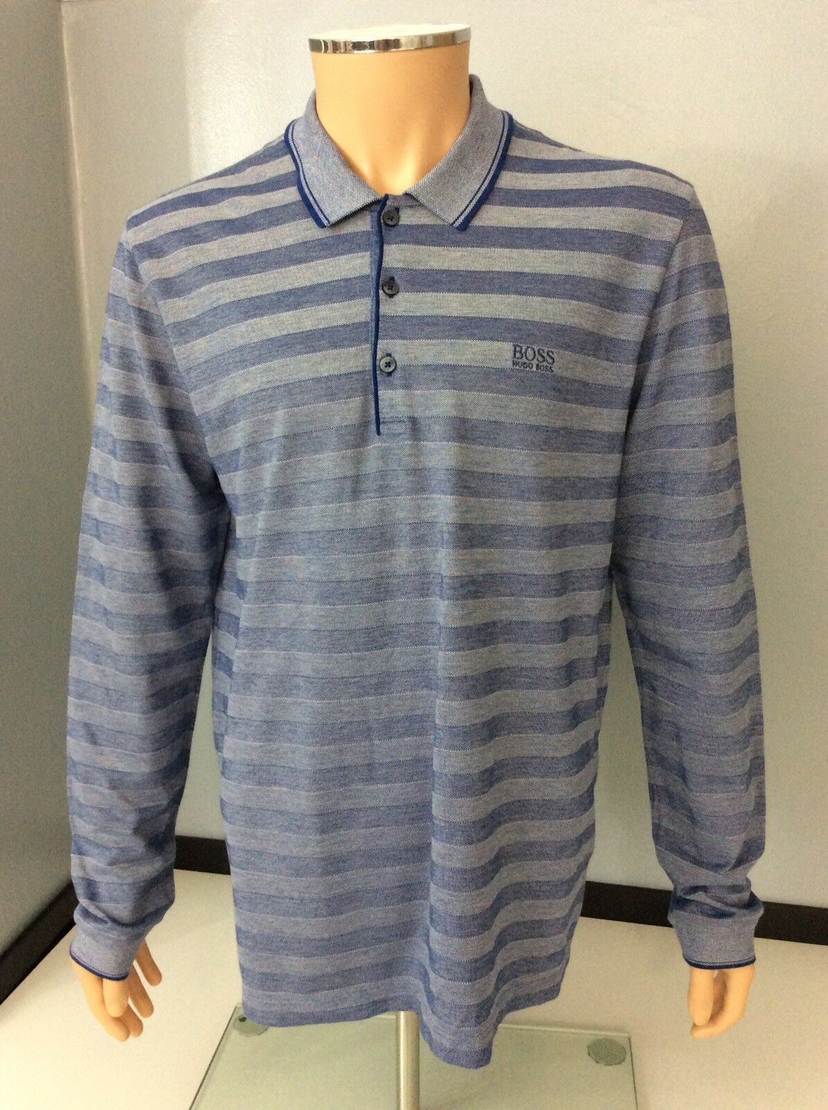 Hugo Boss Tivoll Mens Long Sleeve Polo T Shirt, Size XL, bluee, Vgc