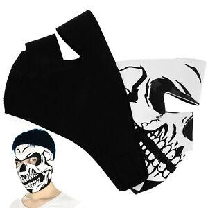 Motorcycle-Outdoor-Skull-Design-amp-Black-Neoprene-Reversible-Full-Face-Mask