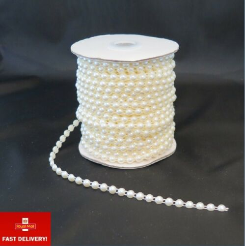 1m Ivory Flat Back Faux Pearl Bead Trim Braiding Dress Making Cake Decorating