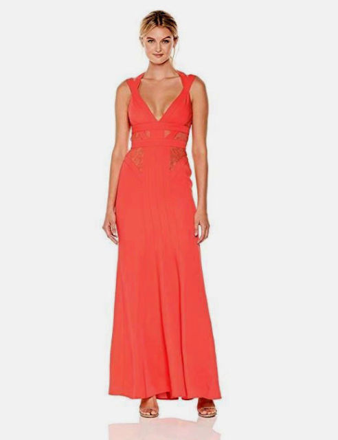 448 New Women's Bcbg max Azria Reese Lace-Insert Satin Gown SZ 12 Ambrosia