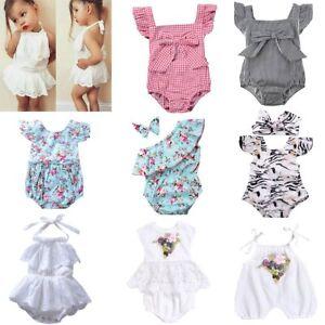 1b500b629 Newborn Baby Infant Girls Floral Romper Bodysuit Jumpsuit Outfit ...