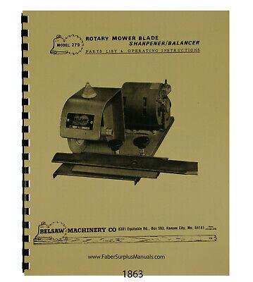 Foley Belsaw Mower Blade Sharpener Balancer Op Parts Manual 1863 EBay