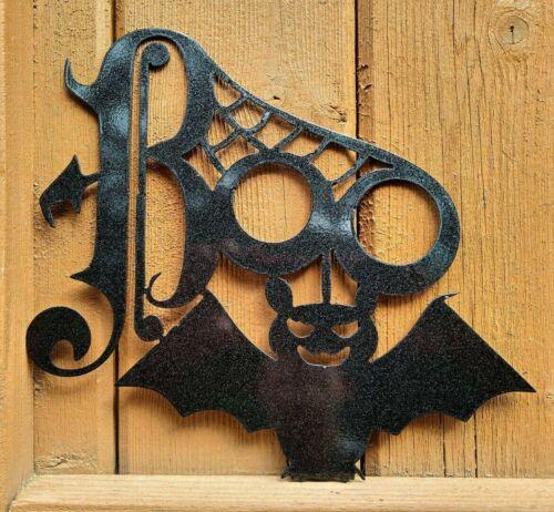 Happy Halloween Sign Metal Boo Front Door Holiday Halloween Party