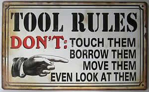 Man Cave Rules : New novelty tin wall sign tool rules dont touch them borrow man