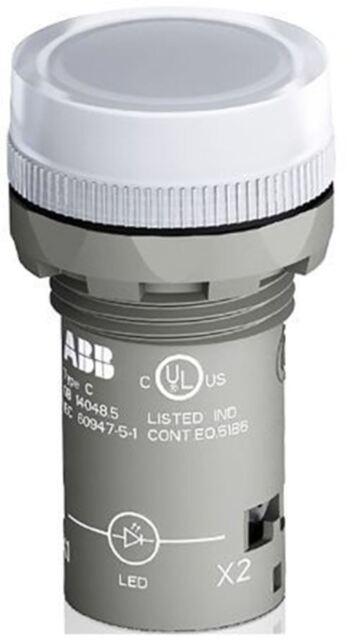 ABB White LED Pilot Light, 22.3mm Cutout, IP66, IP67, IP69K, Round, 24 V ac/dc,