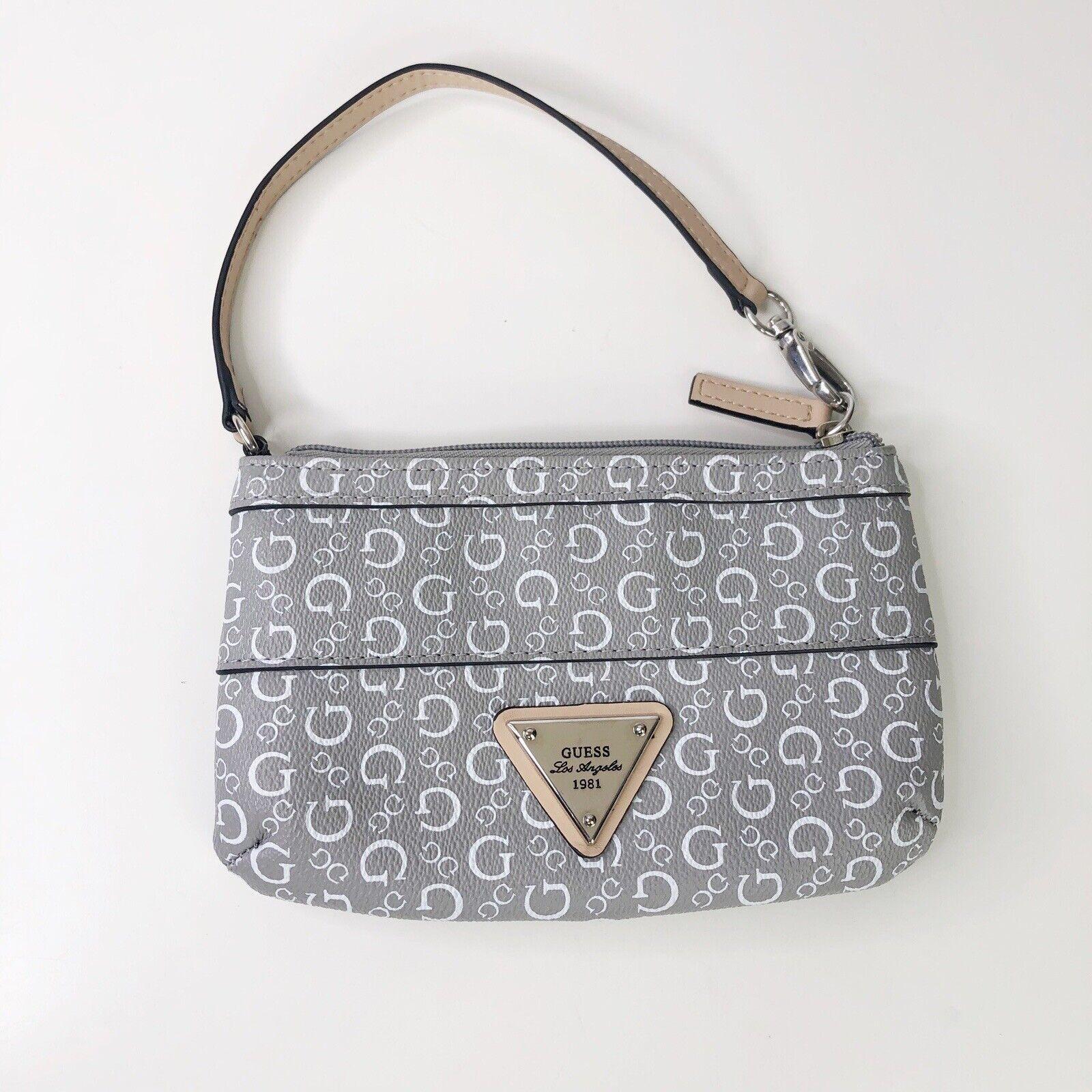 Guess White Gray Logo Wallet Wristlet Zip Closure Wallet