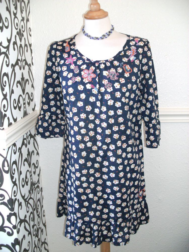 BNWT Laura Lees for Topshop Small Retro Apple Tree bluee Dress Embroidery Skulls